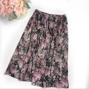 Vintage Floral Knee Length Skirt